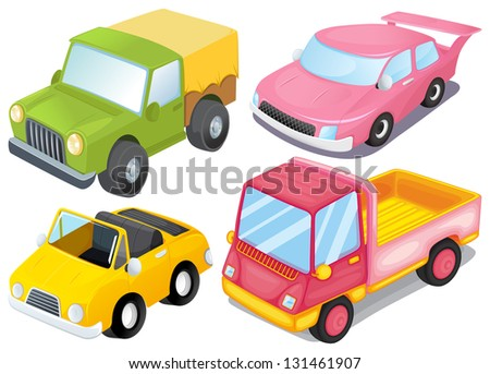 Illustration of the four colorful vehicles on a white background - stock photo