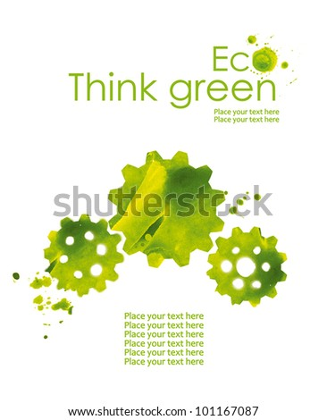 Illustration of the gear from watercolor stains, isolated on white background. Think Green. Ecology Concept. - stock photo