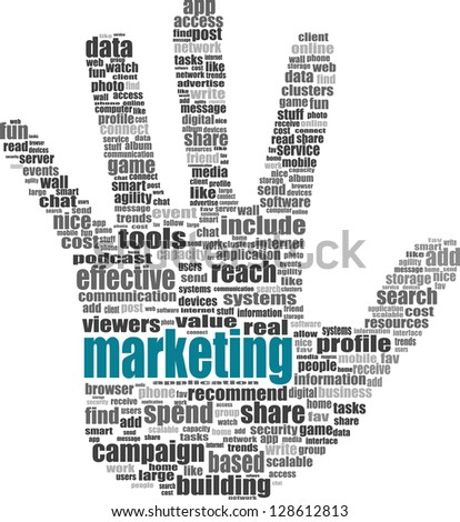 Illustration of the hand symbol, which is composed of text keywords on social media themes. Isolated on white, raster - stock photo