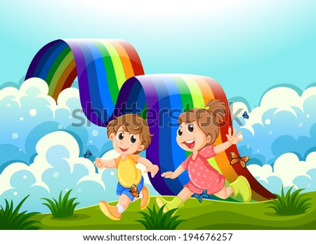 Illustration of the happy kids playing at the hilltop with a rainbow - stock photo