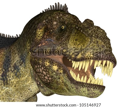 Illustration of the head of a Tyrannosaurus (dinosaur species) on a white background - stock photo