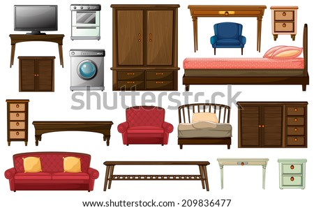 Illustration of the house furnitures and appliances on a white background - stock photo