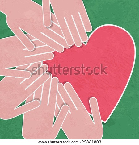 illustration of the human heart rescue people. - stock photo