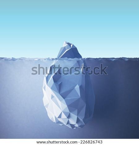 Illustration of the iceberg in the sea. - stock photo