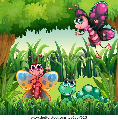 Illustration of the insects at the forest - stock photo