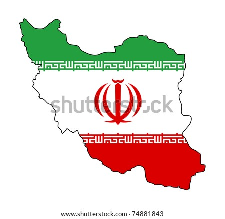 Illustration of the Iran flag on map of country; isolated on white background. - stock photo