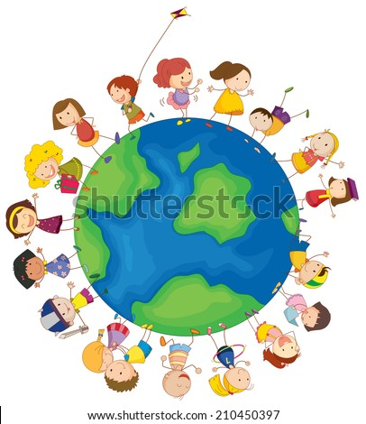 Illustration of the kids around the globe on a white background - stock photo