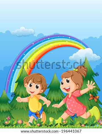 Illustration of the kids playing near the garden with a rainbow in the sky - stock photo