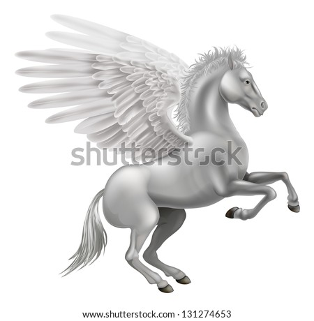 Illustration of the legendary winged horse from Greek mythology, Pegasus - stock photo