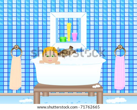 Illustration of the little girl bathing in a bathroom - stock photo