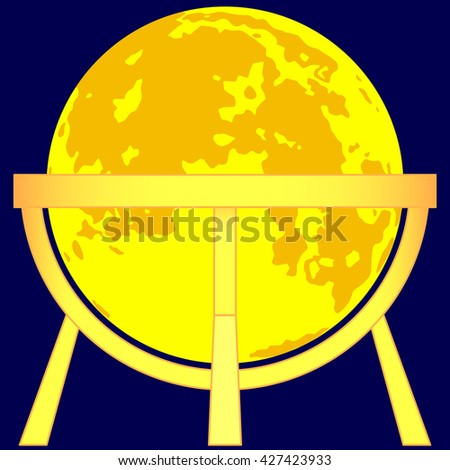 Illustration of the Moon globe on gold stand icon - stock photo