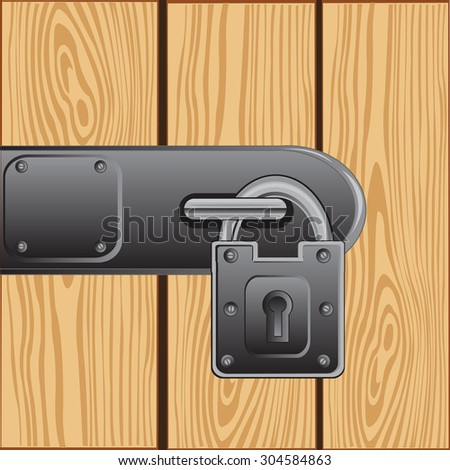 Illustration of the outboard lock on door from tree.Raster version of artwork - stock photo