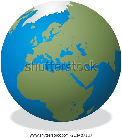 Illustration of the planet earth with shadow - stock photo