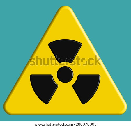 Illustration of the radiation symbol on danger sign - stock photo