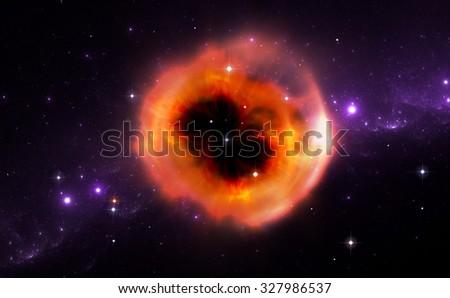 Illustration of the ring of material ejected from the supernova explosion - stock photo