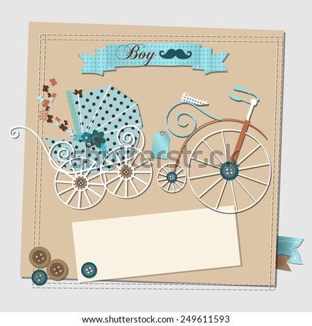 Illustration of the scrap-booking baby shower invitation card with the vintage stroller and bicycle. Raster. - stock photo