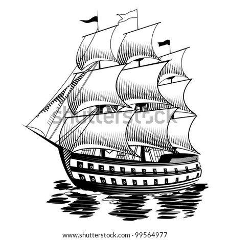 Illustration of the ship into the sea - stock photo