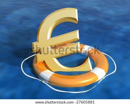 Illustration of the sinking euro being saved - stock photo