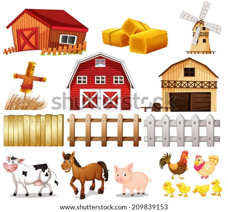 Illustration Of The Things And Animals Found At The Farm On A White
