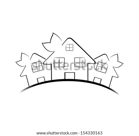 illustration of the three houses isolated on white background. Real estate icon - stock photo