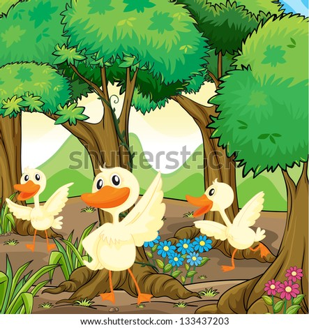Illustration of the three white ducks in the middle of the woods - stock photo
