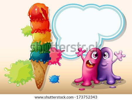 Illustration of the two monsters near the giant ice cream - stock photo