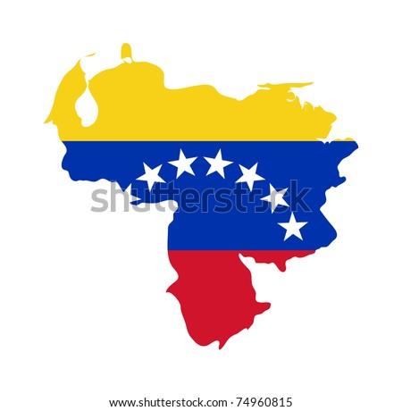 Illustration of the Venezuela flag on map of country; isolated on white background. - stock photo