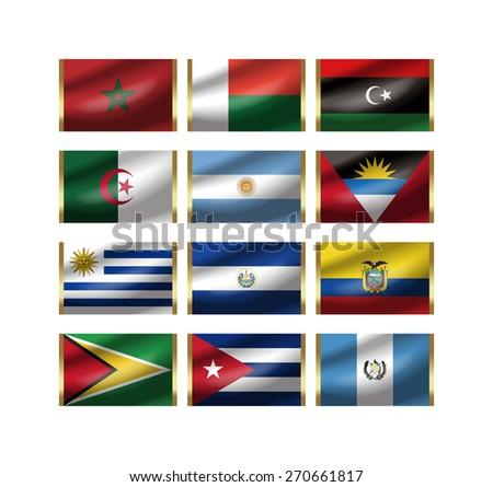 Illustration of the world national flag./ The illustration of the national flag can be synthesized to the illustration of the key ring. - stock photo