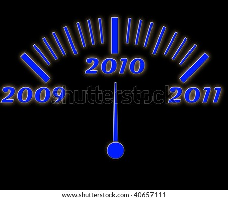 illustration of the year count gauge blue digits - stock photo