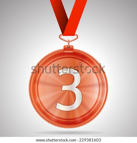 Illustration of third place medal. Shiny bronze third place medal with red ribbon and number 3. Isolated illustration on gray background. - stock photo