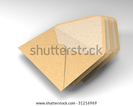 illustration of three brown and open envolopes in a small pile - stock photo