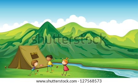 Illustration of three children playing near a camp site - stock photo