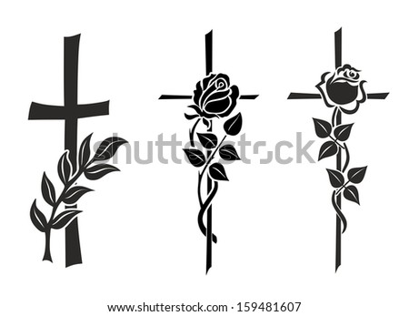 illustration of three different crosses with roses - stock photo