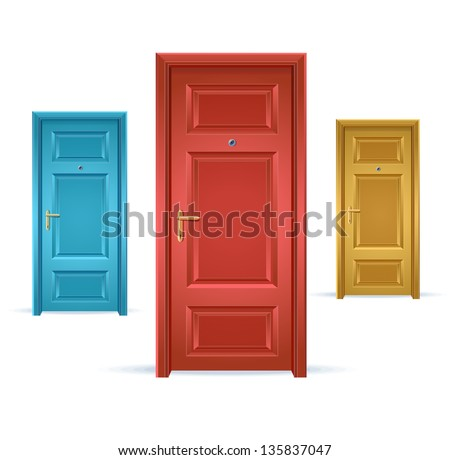 Illustration of three doors, blue, red and yellow - stock photo