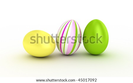 Illustration  of three easter eggs over white. - stock photo