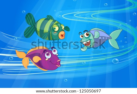 Illustration of three fishes with face in the sea - stock photo