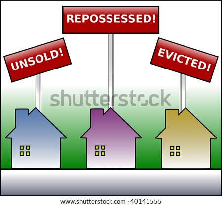 Illustration of three gradient colored houses under signs stating unsold, repossessed and evicted on a green gradient background. - stock photo