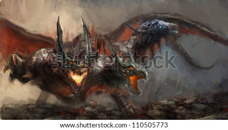 illustration of three headed dragon - stock photo