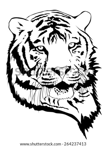 Illustration of Tiger Portrait in Black and White - stock photo