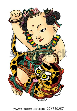 """illustration of traditional Chinese Pattern and Drawing """"Children with lion' - stock photo"""