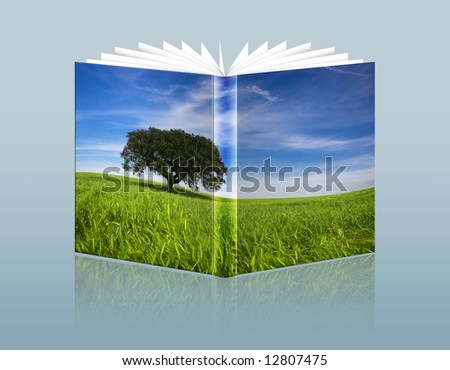 illustration of travel guide with landscape in the hardcover - stock photo