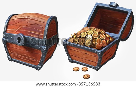 Illustration of treasure chest icons in locked and in open positions - stock photo