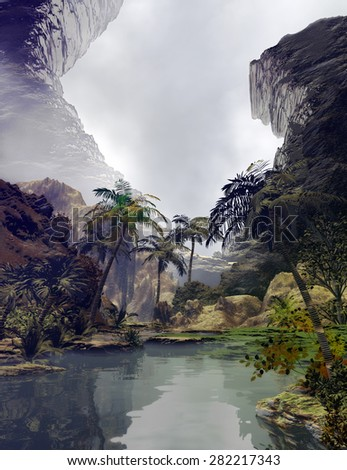 illustration of tropical landscape with a small lake surrounded by vegetation with two big rocks in the background - stock photo