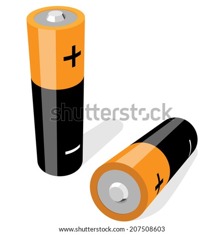 Illustration of two AA-size batteries isolated on white background. No gradients or effects. - stock photo