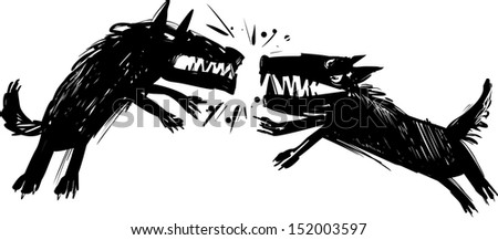 Illustration of Two Angry Fighting Wolves Baring their Teeth - stock photo