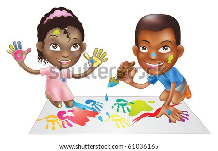 illustration of two ethnic children playing with paints on a play-mat - stock photo