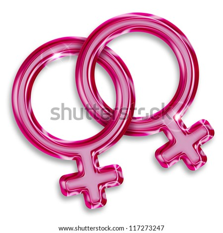 illustration of two female gender symbols on white background - stock photo