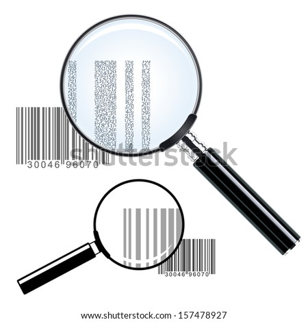 Illustration of two magnifying glasses of different sizes over bar codes enlarging the print showing the commercial inventory identification and pricing data - conceptual of investigation or research - stock photo