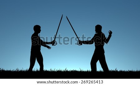 Illustration of two men sword fighting - stock photo