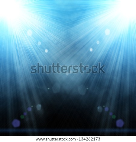 illustration of two spotlight with glowing snow - stock photo